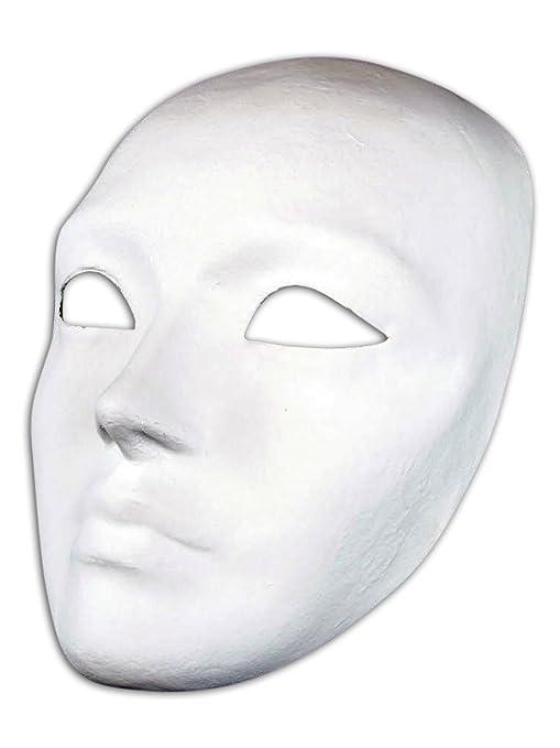 Venetian cara llena máscara de papel maché en blanco Volto Do It Yourself para hombres y mujeres: Amazon.es: Ropa y accesorios