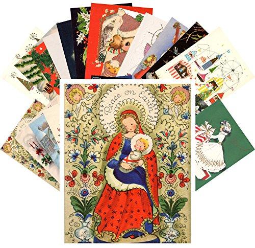 Vintage Christmas Greeting Cards 24pcs Santa Snowman and Christmas Day REPRINT Postcard Pack