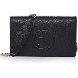 2b66fbbf996 Gucci Soho Mini Black Round Light Gold Disco Zip Italy Leather Handbag Bag  New