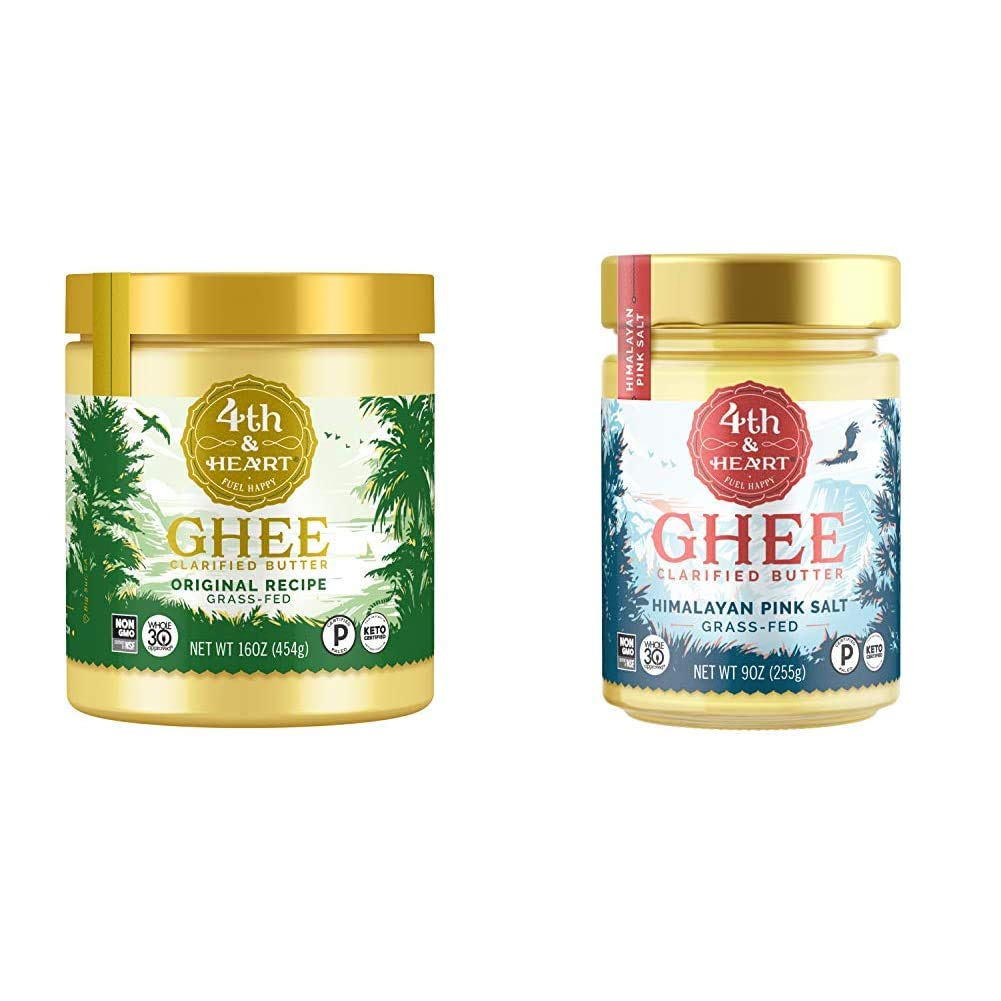 Original Grass-Fed Ghee by 4th & Heart, 16 Ounce, Keto, Pasture Raised, Non-GMO, Lactose Free, Certified Paleo & Himalayan Pink Salt Grass-Fed Ghee Butter by 4th & Heart, 9 Ounce, Keto, Pasture Raised