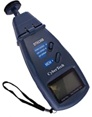CyberTech Tri-Mode Contact and Laser Non-Contact RPM Tach Digital Photo Tachometer and Linear Speed Surface Distance Measure Meter with Four Wheels