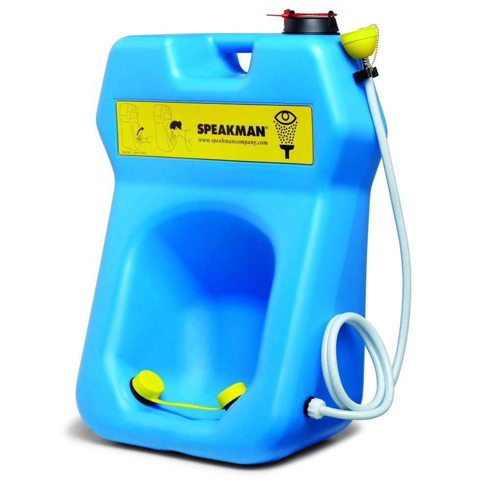 Speakman SE-4300 GravityFlo 20-Gallon Portable Emergency Eye Wash with Drench Hose, High Visibility Blue Plastic by Speakman