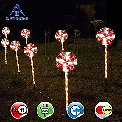Alion Home Candy Cane Lollipop 2.4ft Pathway Stakes - 96-Count LED Lights In Clear Tubes With 6 Lighting Mode Controller --2 Sets of 4 (total 8)