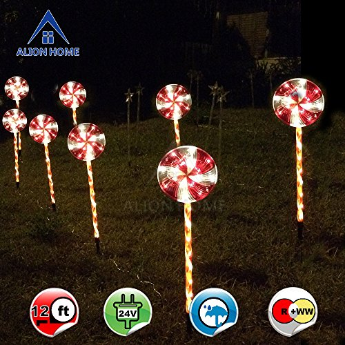 Alion Home Candy Cane Lollipop 2.4ft Pathway Stakes - 96-Count LED Lights In Clear Tubes With 6 Lighting Mode Controller --2 Sets of 4 (total 8) by Alion Home
