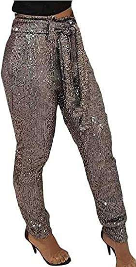 WAWAYA Womens Pants Belted Sparkle Sequins High Rise Clubwear Trousers