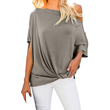 Image Unavailable. Image not available for. Color  Joint Clearance 2018  Autumn Womens Blouse Casual Cold Shoulder Tops Short Sleeve T Shirt Loose  Shirt dd1caa7b89e4