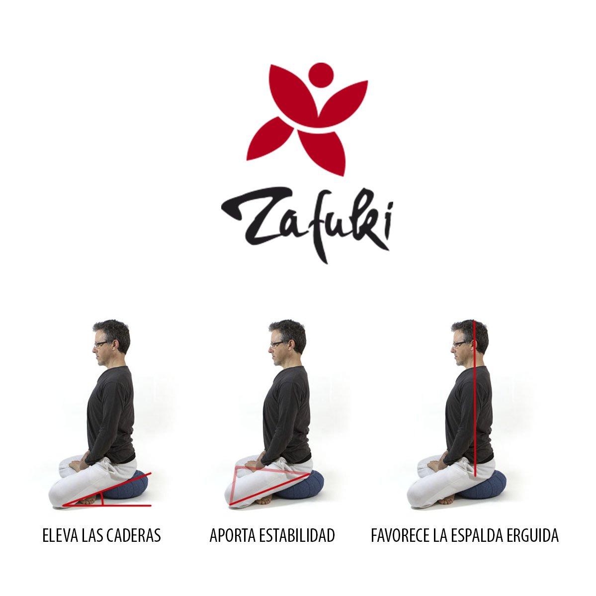 ZAFUKI Cojín Redondo para Yoga, Tibetano, Relleno de cáscara de espelta (Cultivo biológico) / Ideal para Practicar Yoga/Cojín zafu/Cojín de ...