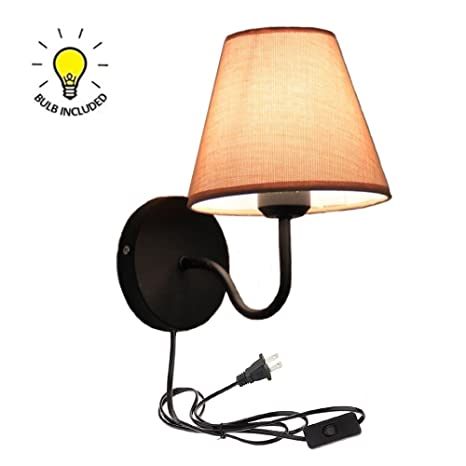 Beau Kiven Simple Warm Fabric Bedroom Living Room Stair Wall Lamp One Cable,  Mains Plug And