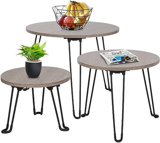 Ejoyous Ensemble de 3 Tables Gigognes, Rétro & Durable Table D\'emboîtement  Ronde, Tables Basses en MDF avec Pieds en Fer pour Bureau Salon Balcon ...