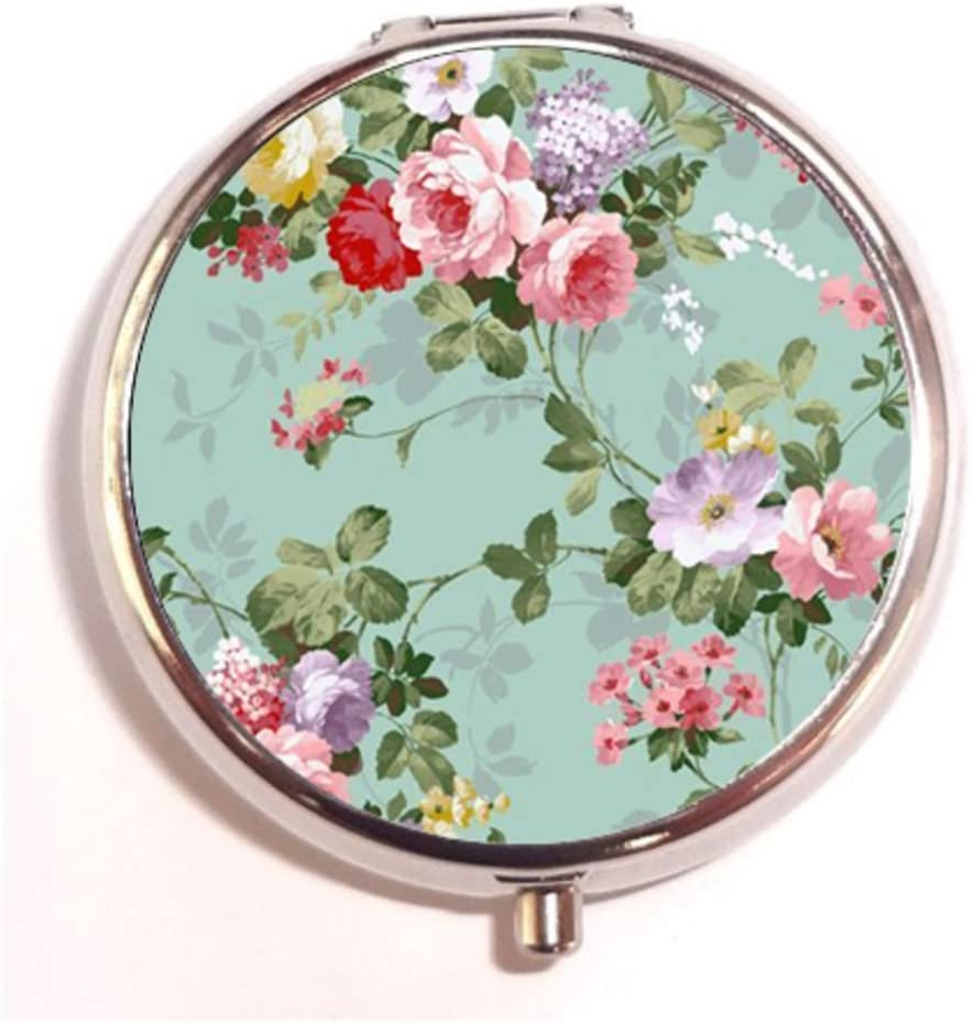 Amazon Com Vintage Floral Custom Round Silver Pill Box Pocket 2 1
