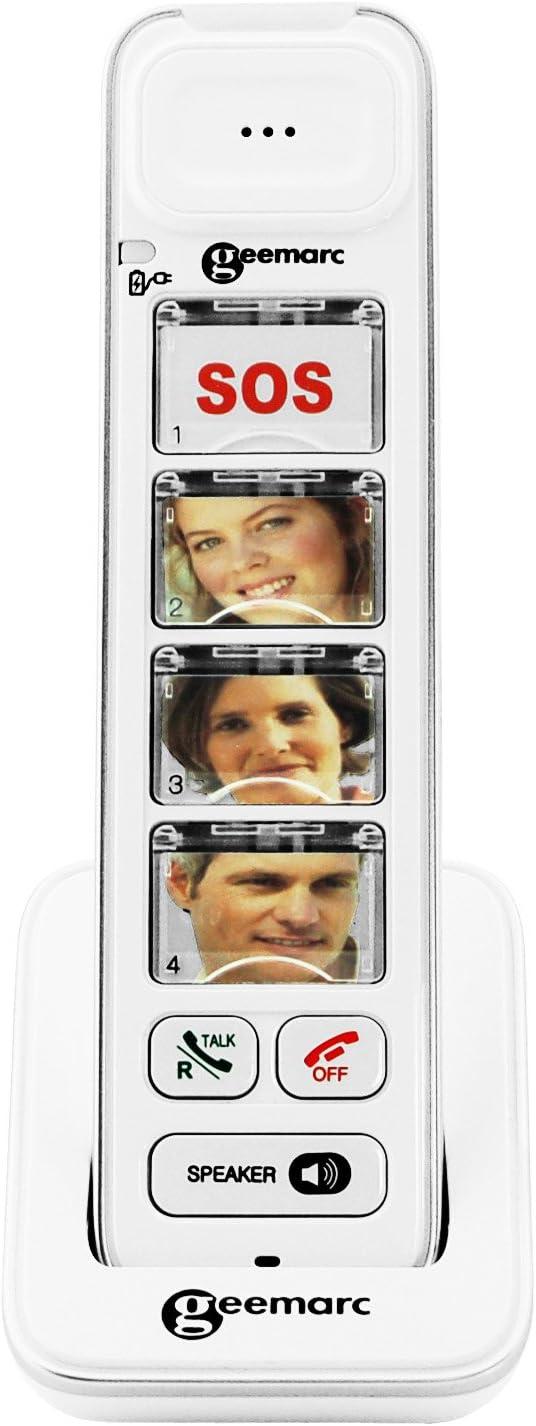 Geemarc Photodect 295 - Teléfono inalámbrico de botón grande amplificado, Color blanco