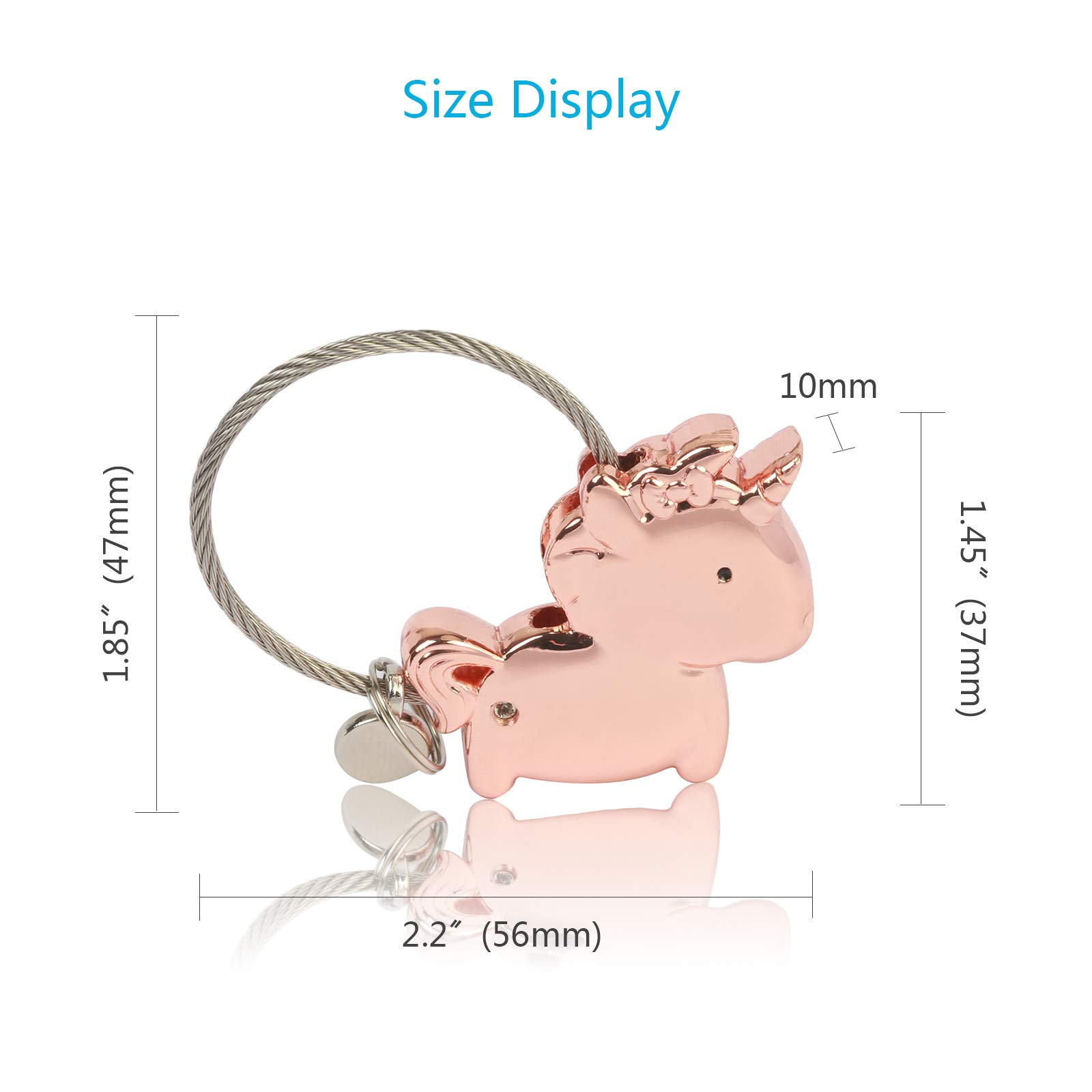 Keyrings ZoomSky 1 Pair Kissing Unicorn Keychian Couple Key Rings Zinc Alloy Key Chain with Magnetic for Boyfriend Girlfriend Sweet Gift for Valentines Wedding Birthday