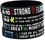 """Power of Faith"" Bible Verse Wristbands - Set of 4 Silicone Bracelets w/ Christian Symbols & Scriptures"