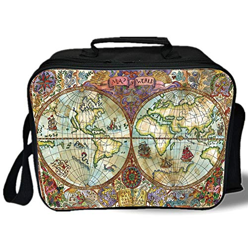 Insulated Lunch Bag,Watercolor,Vintage World Map Antique Grunge Drawings Mystic Symbols Adventure Discovery Decorative,Multicolor,for Work/School/Picnic, Grey