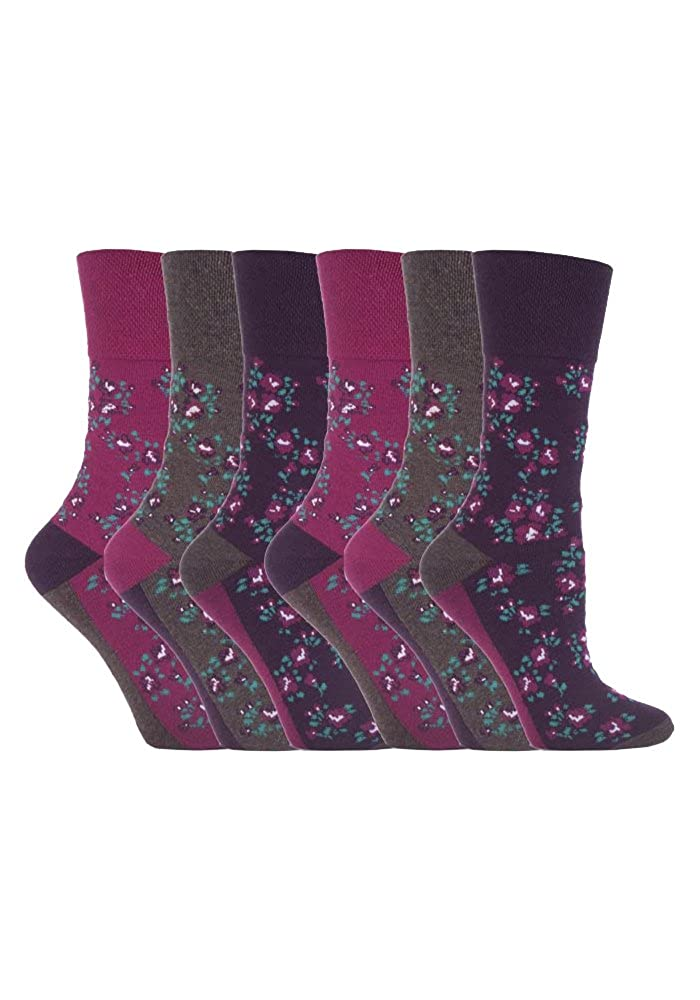 6 Pairs Ladies Gentle Grip No Elastic Socks 4-8 uk NEW 37-42 eur