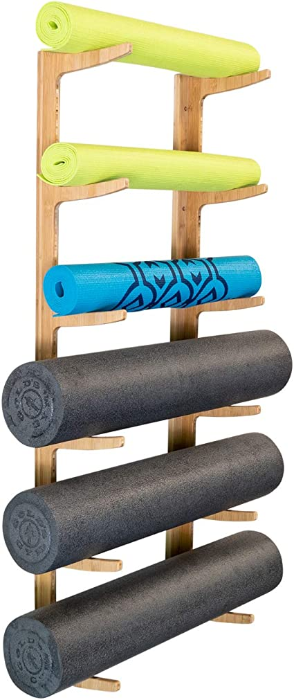 Amazon Com Foam Roller Yoga Mat Rack Ultra Fitness Gear Yoga Mat Storage Shelf With Mounting Hardware Bamboo Construction Incline Health Personal Care