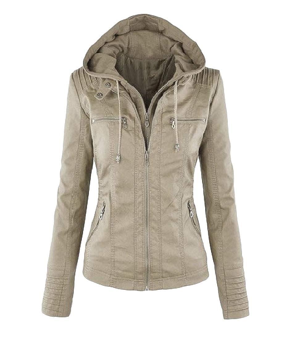 YUNY Womens Oversized Hood Zip-up Pockets Long-Sleeve Solid Jacket Coat Apricot 4XL