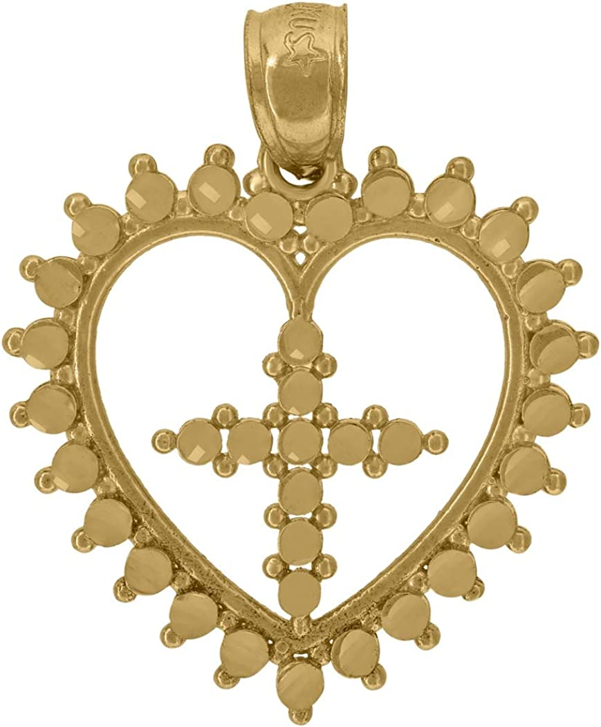 Measures 26.8x20.70mm Wide 10k Yellow Gold Womens Heart Cross Religious Charm Pendant