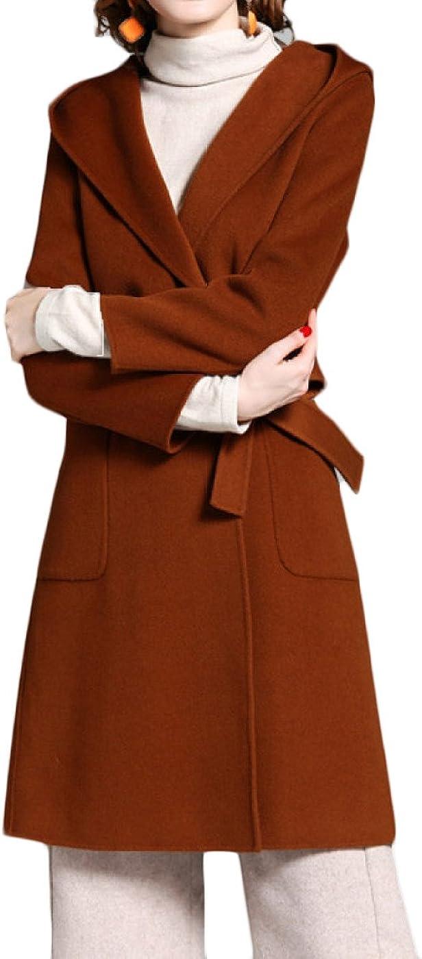 GTYW Modelli di Autunno E in Inverno Lana da Donna Lana con Cappuccio A Due Lane con Cappuccio Lungo Caramelcolor