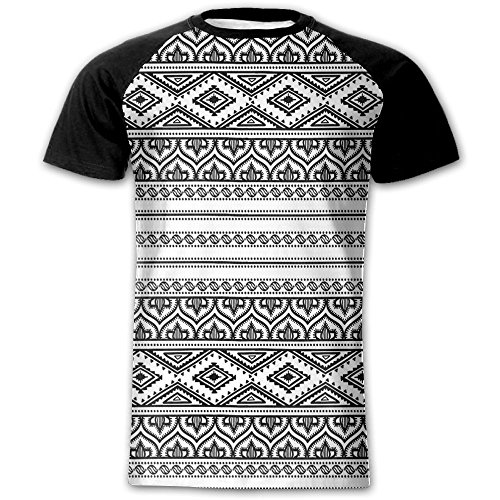 Newfood Ss Oriental Tribal Moroccan Round Style Lines Dots Geometric Shapes Artwork Men's Short Sleeve Raglan T S