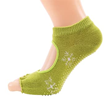 Maybesky Calcetines de Yoga Sra. Leakage Five Fingers Algodón Sweat Sweat Fingers Calcetines Deportivos Pilates, Calcetines Antideslizantes (Color : Verde): ...