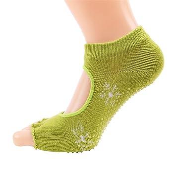 Maybesky Calcetines de Yoga Sra. Leakage Five Fingers Algodón Sweat Sweat Fingers Calcetines Deportivos Pilates, Calcetines Antideslizantes (Color : Verde): ...