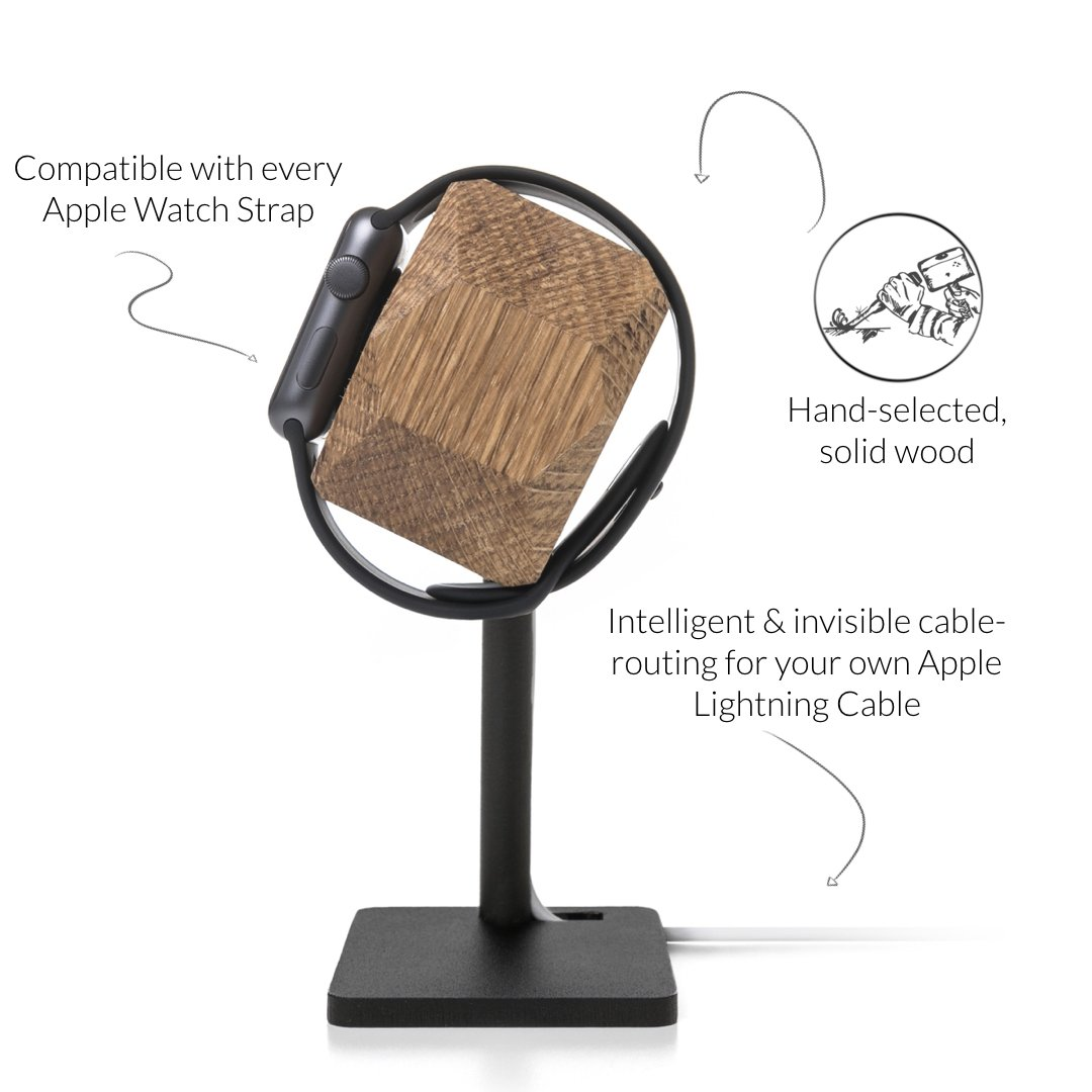 Woodcessories - Docking Station Compatible with Apple Watch Series (1, 2, 3, 4) of Real Wood, EcoDock Watch EDT. (Oak) by Woodcessories (Image #3)