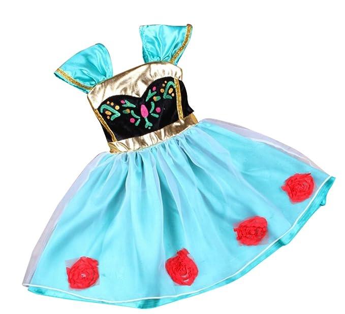 MissFox Niñas Disfraz De Anna Cordón Vestido De Princesa Para Fiesta Carnaval Cosplay Cielo Azul 90CM
