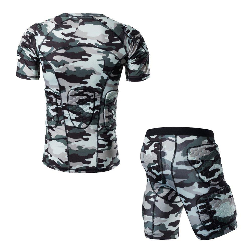 TUOYR Body Safe Guard Gepolsterte Compression Sport Short Sleeve Schutz T-Shirt Schulter Rib Brustschutz Camo Anzug für Fußball Basketball Paintball Rugby Parkour Extreme