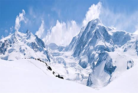 Aofoto 8x6ft Snowy Mountain Range Backdrop Cold Winter Scenery Photography Background Blue Sky Snow Covered Alpine Snow High Hill Peak Ski Nature