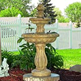 Sunnydaze, Two Tier Tulip on Demand Fountain, 36 Inch, Earth
