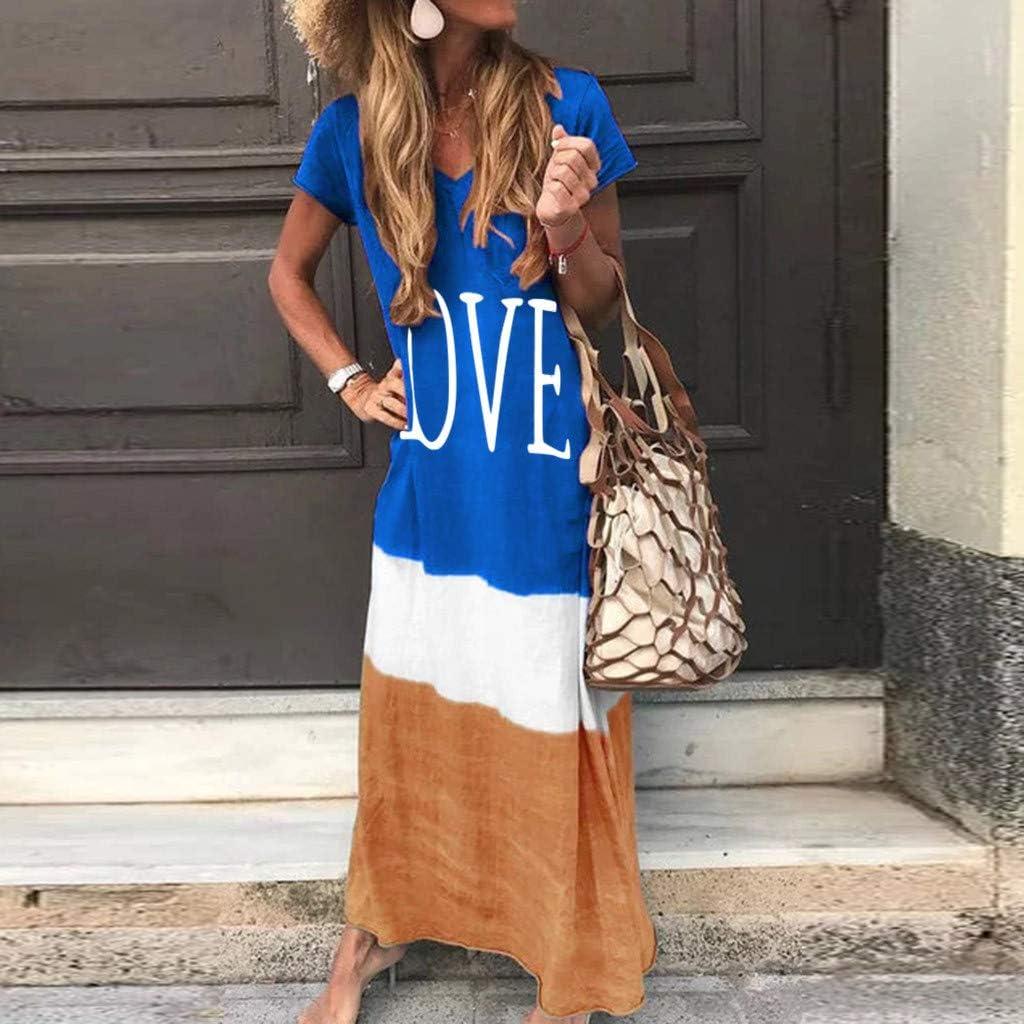 ReooLy Women Love Print Dress Plus Size Color Block Loose V-Neck Short Sleeve Maxi Dress