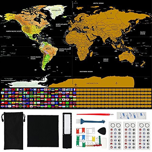 Axpower scratch off world map travel poster scratch art note with us axpower scratch off world map travel poster scratch art note with us states country flags includes tools memory stickers gift for kids track adventures gumiabroncs Images