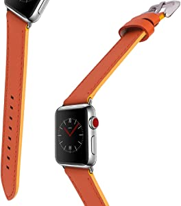 For Apple Watch Band, 38MM 40MM iWatch Band Genuine Leather Strap Stainless Metal Buckle for Apple Watch Series 4, Series 3, Series 2,Sport & Edition (Orange)