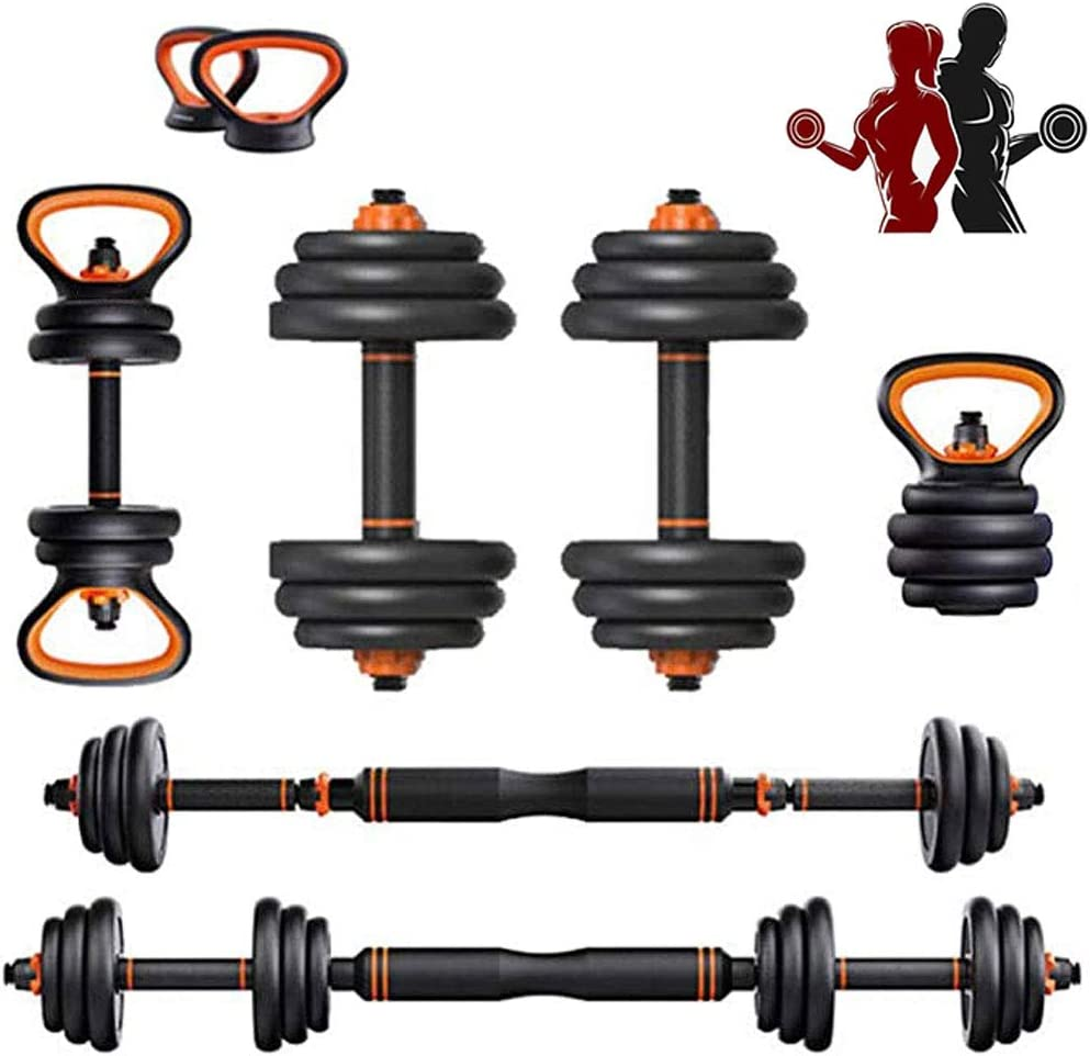 Adjustable Weights Dumbbells Set 33LB/44LB, 6 in1 Free Weights Set Adjustable Dumbbells Barbell Kettlebells Push Up Stand for Home Gym Work Out Fitness Equipment Exercise