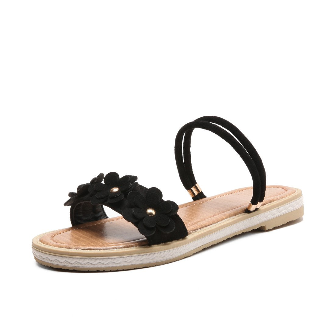 Women's Fashion Summer Sandals Personality Comfortable Slippers Flat Shoes Light Comfortable Personality Large Size 32-43,Black,34 34 Black B07CNS7K3T 57a86b