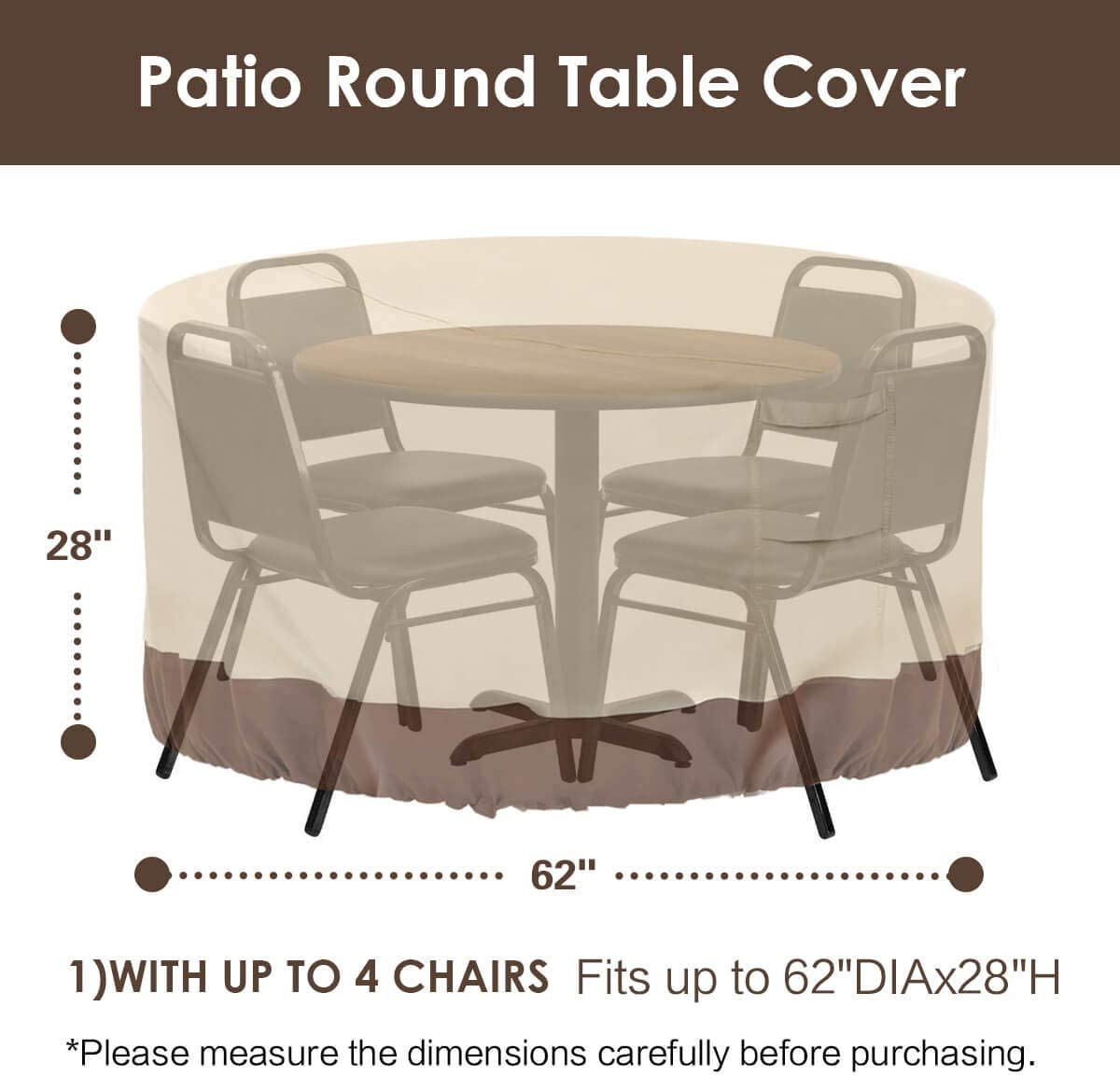 """Vailge Round Patio Furniture Covers, 100% Waterproof Outdoor Table Chair Set Covers, Anti-Fading Cover for Outdoor Furniture Set, UV Resistant, 62"""" DIAx28 H,Beige & Brown: Kitchen & Dining"""