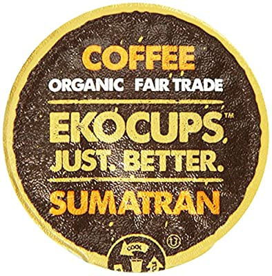 EKOCUPS Artisan Organic Sumatran Coffee, Dark roast, in Recyclable Single Serve Cups for Keurig K-cup Brewers, 40 count