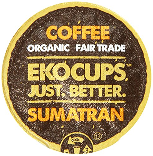 EKOCUPS Artisan Organic Sumatran Coffee, Dark roast, in Recyclable Single Serve Cups for Keurig K-cup Brewers, 40 count (Roast Sumatran Dark)