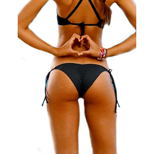 401c310ff5 Amazon.com: 2017 NEW Womens Swimwear Sexy Tie Side Sweet Heart Brazilian  Bikini Bottom Hipster Swimsuit Beachwear Swimwear, Black, Medium: Clothing