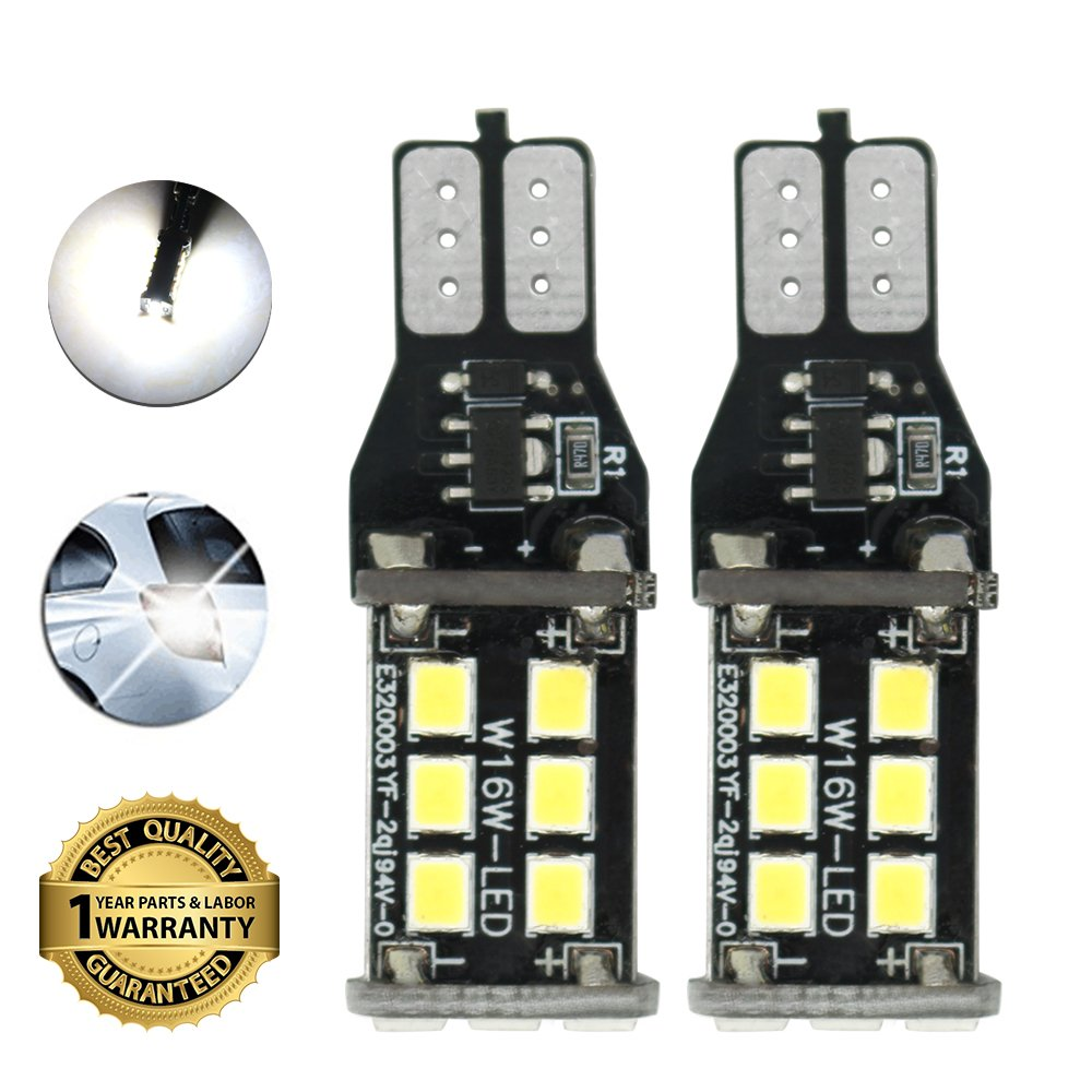 921 912 T15 W16W LED Bulb Reverse 15-2835 SMD Backup Lights Bulbs Error Free Super Bright Xenon White 6000K Pack of 2 CIIHON T15 W16W 912 921
