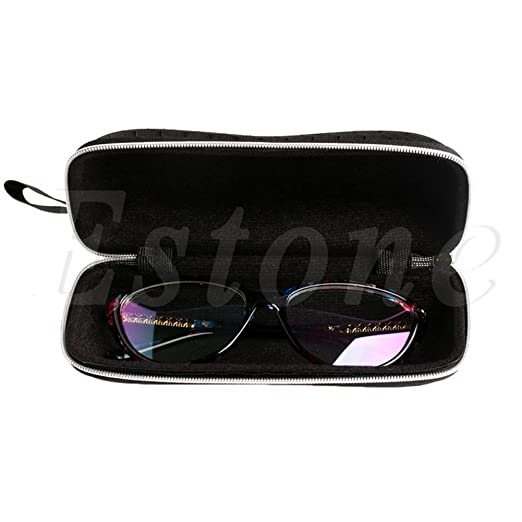 1 Pc Rectangle Grid Zipper Eye Glasses Case Hard Eyewear Box Sunglasses Case Colorful Apparel Accessories Eyewear Accessories