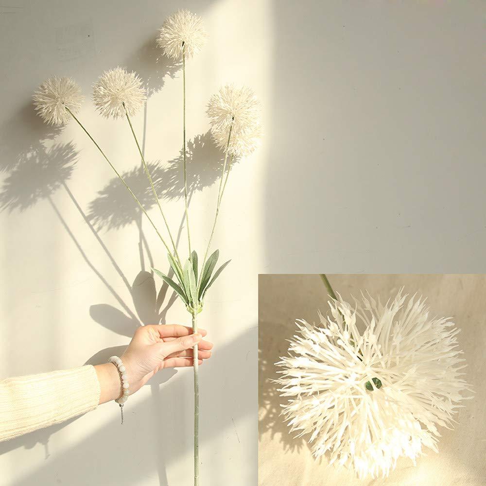 Glumes 造花 タンポポポ 5個 リアルタッチ リアル シングル フェイク ブライト スモール フラワー ホワイト 植物 ホーム ウェディング デコレーション用 ホワイト B07MS1QGBK ホワイト
