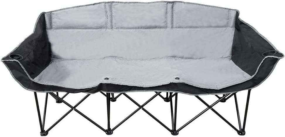 GoTeam 3 Seat Portable Folding Bench Couch – Black Gray