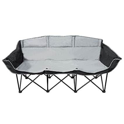 Astounding Goteam 3 Seat Portable Folding Bench Couch Black Gray Machost Co Dining Chair Design Ideas Machostcouk