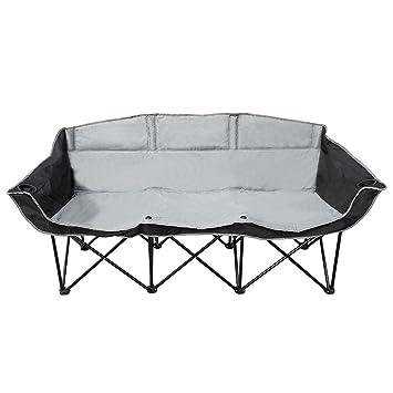 Amazon.com: GoTEAM! 3 Seat Portable Folding Bench/Couch - Black ...
