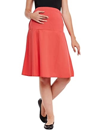 e4167429eb8ad oxolloxo Women's Red Elasticated Maternity Skirt: Amazon.in: Clothing &  Accessories