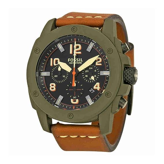 Fósil de hombre fs5035 moderna máquina Cronógrafo correa de piel color marrón: Amazon.es: Relojes