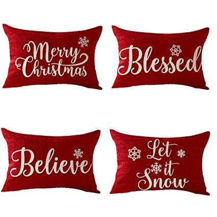 FELENIW Set of 4, Happy Winter Snowflake Blessed Believe Let It Snow Merry Christmas Cotton Linen Decorative Throw Pillow Cover Cushion Case Lumbar 12x20 inches best Christmas throw pillows