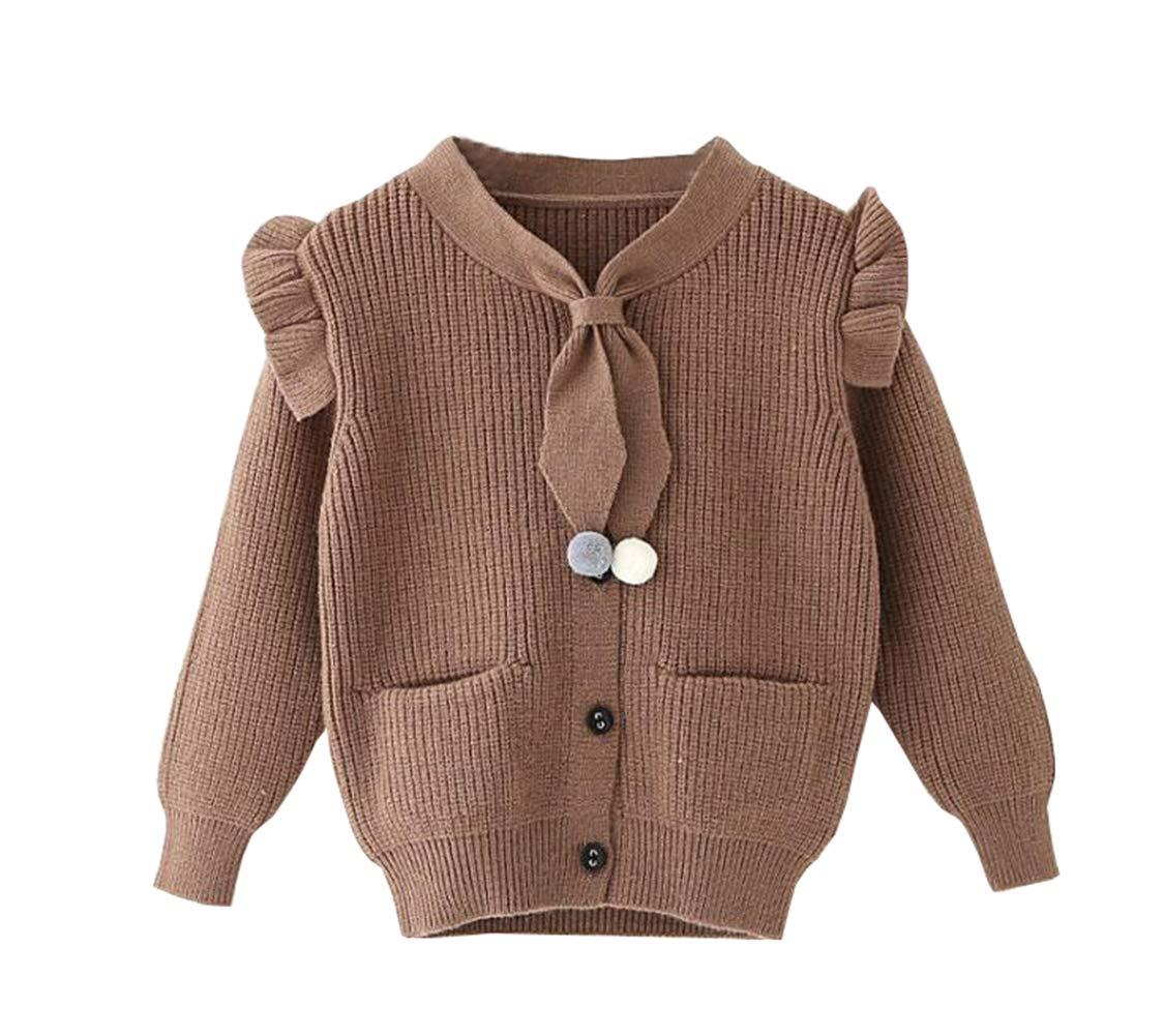 TAIYCYXGAN Girls Winter Ruffle Cardigan Kids Bowtie Knit Sweaters Jacket Cotton Sweater Coat Pocket Coffee 110